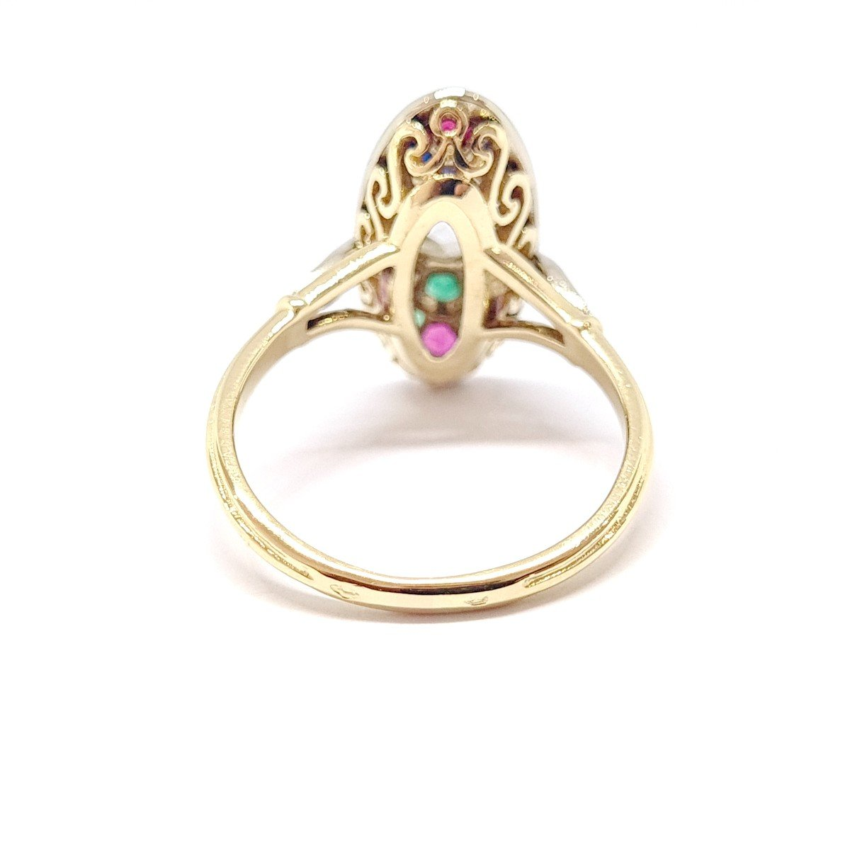 Bague Ancienne Or Jaune 18 Carats Diamants Saphirs Rubis émeraudes-photo-3