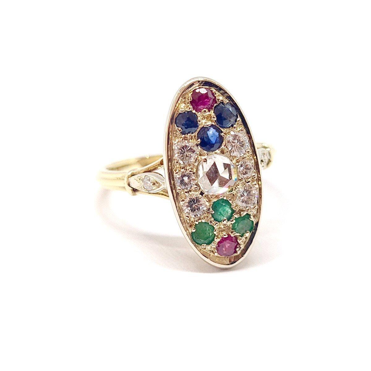 Bague Ancienne Or Jaune 18 Carats Diamants Saphirs Rubis émeraudes-photo-4