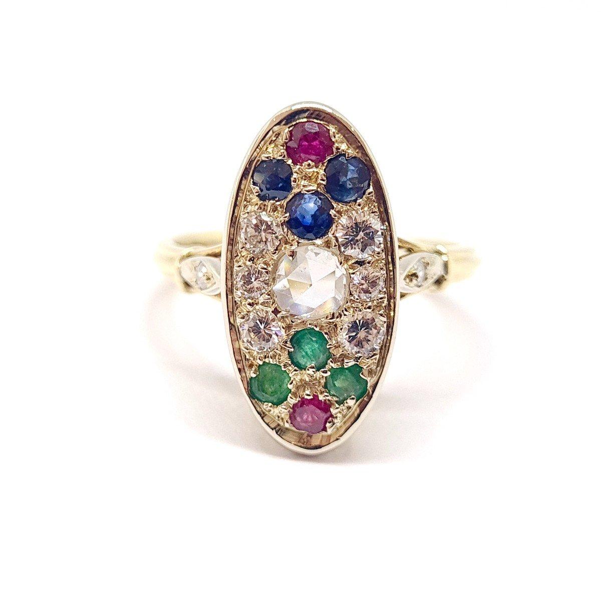 Bague Ancienne Or Jaune 18 Carats Diamants Saphirs Rubis émeraudes