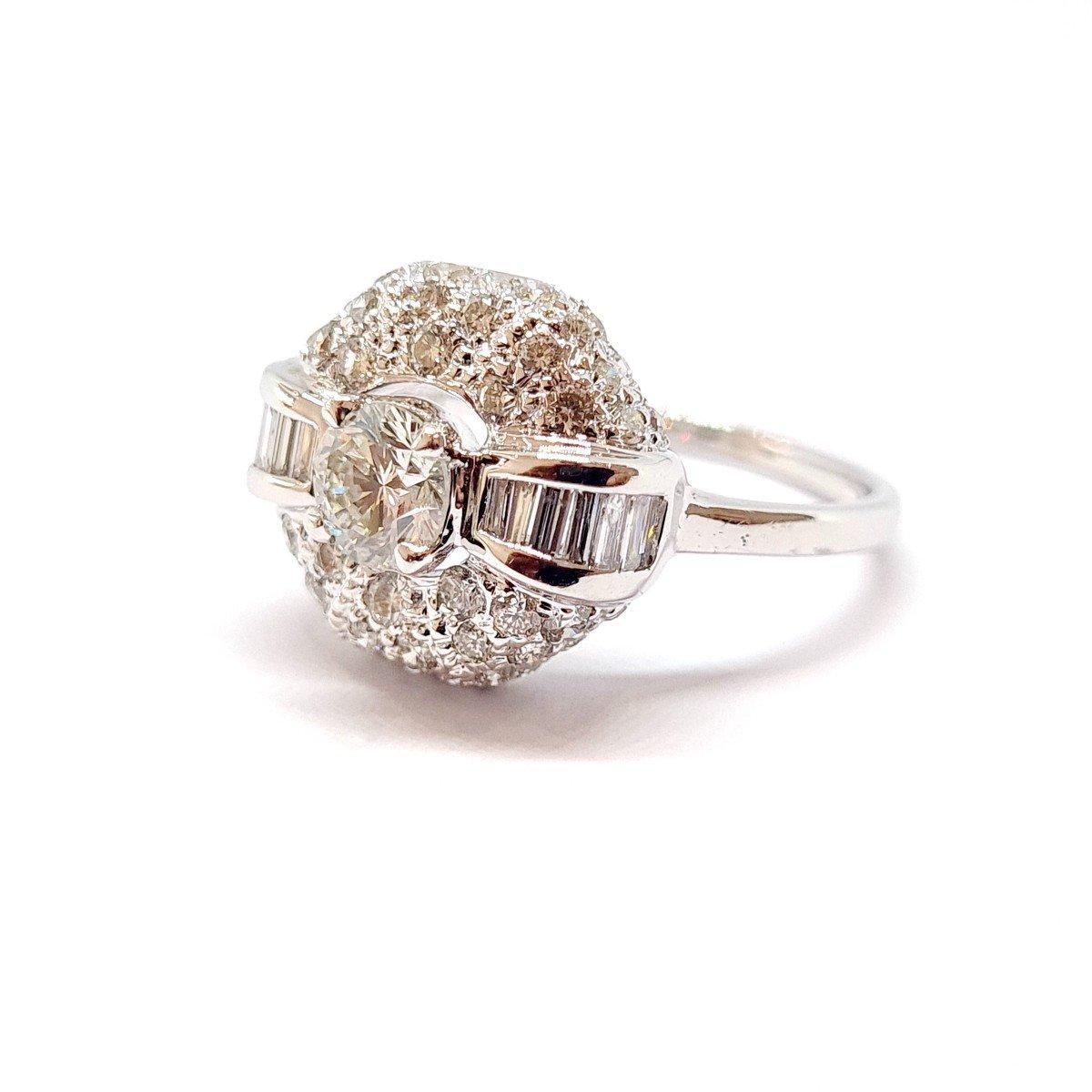 Art Deco Ring (1920 - 1935) 18k White Gold Diamonds-photo-2