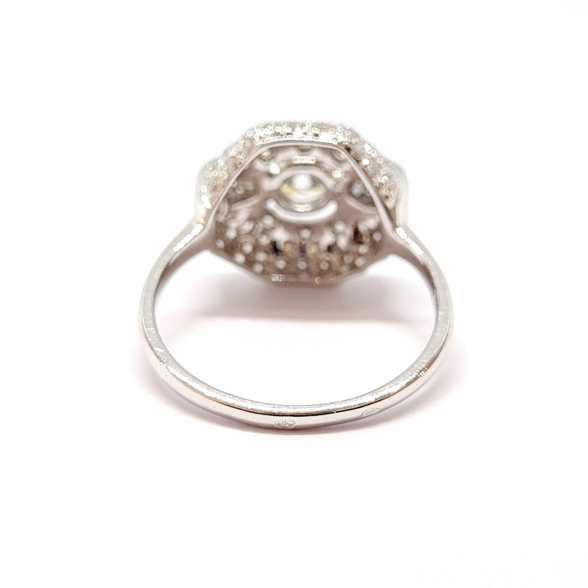 Art Deco Ring (1920 - 1935) 18k White Gold Diamonds-photo-3
