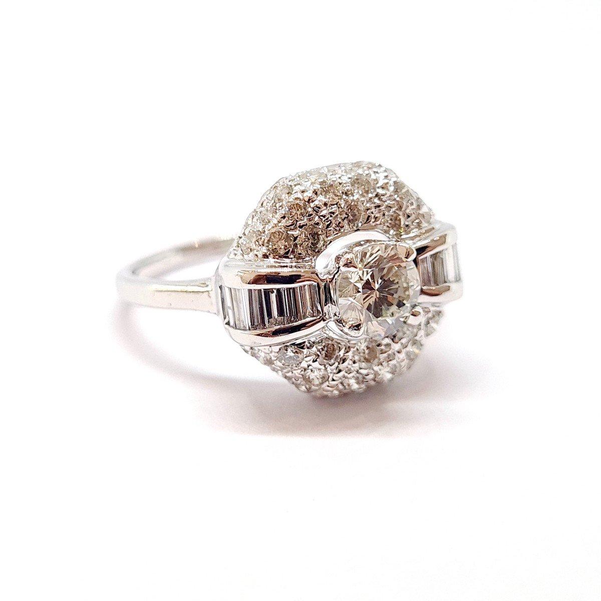 Art Deco Ring (1920 - 1935) 18k White Gold Diamonds-photo-4