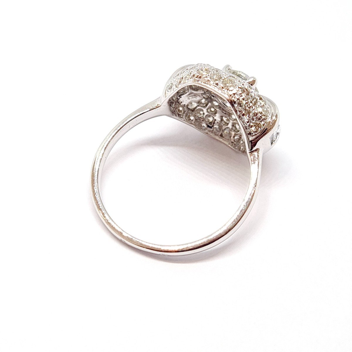 Art Deco Ring (1920 - 1935) 18k White Gold Diamonds-photo-1