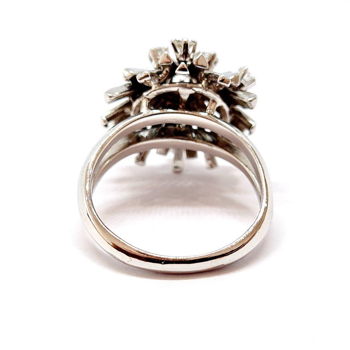 Bague Ancienne Or Blanc 18 Carats Diamants-photo-3