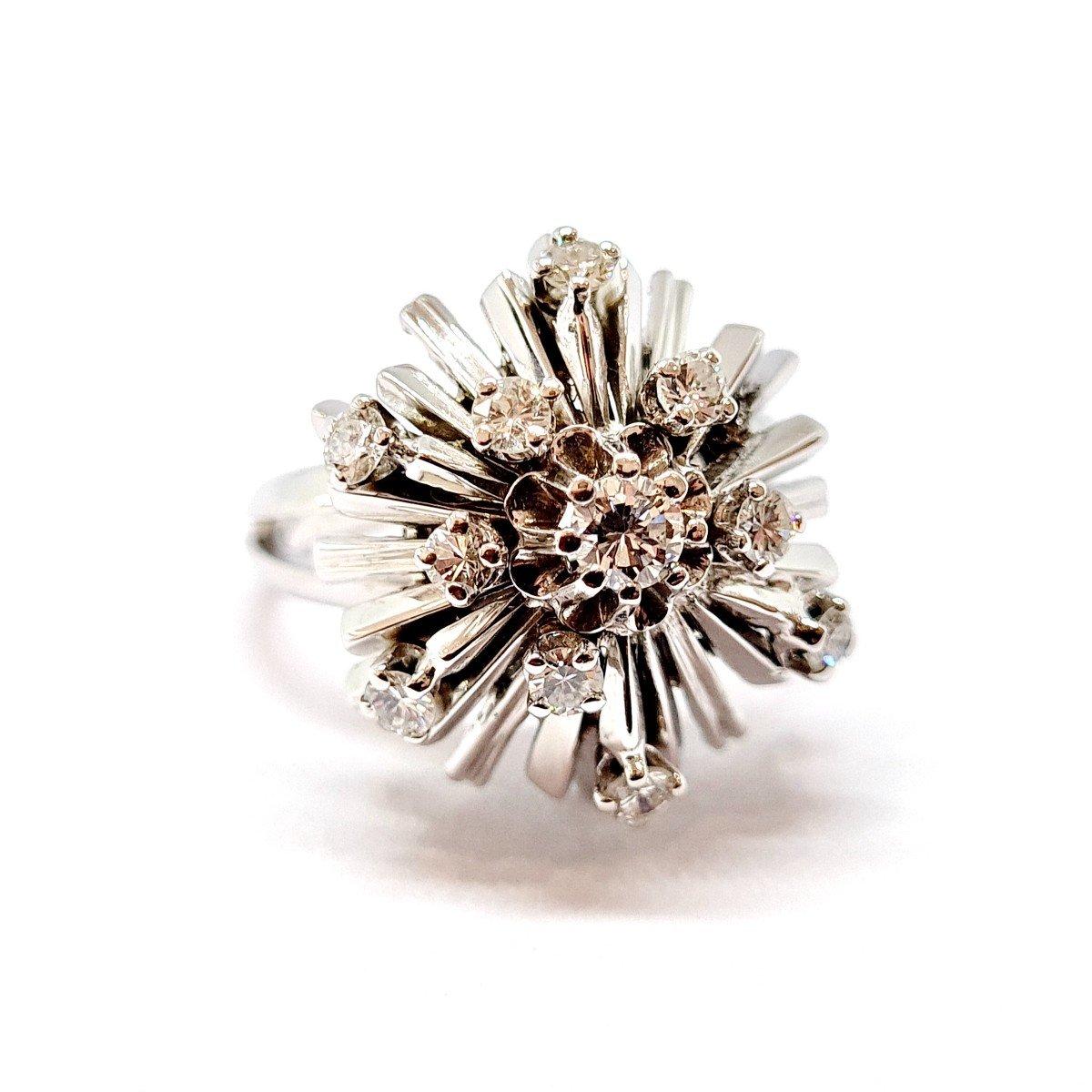 Bague Ancienne Or Blanc 18 Carats Diamants-photo-4