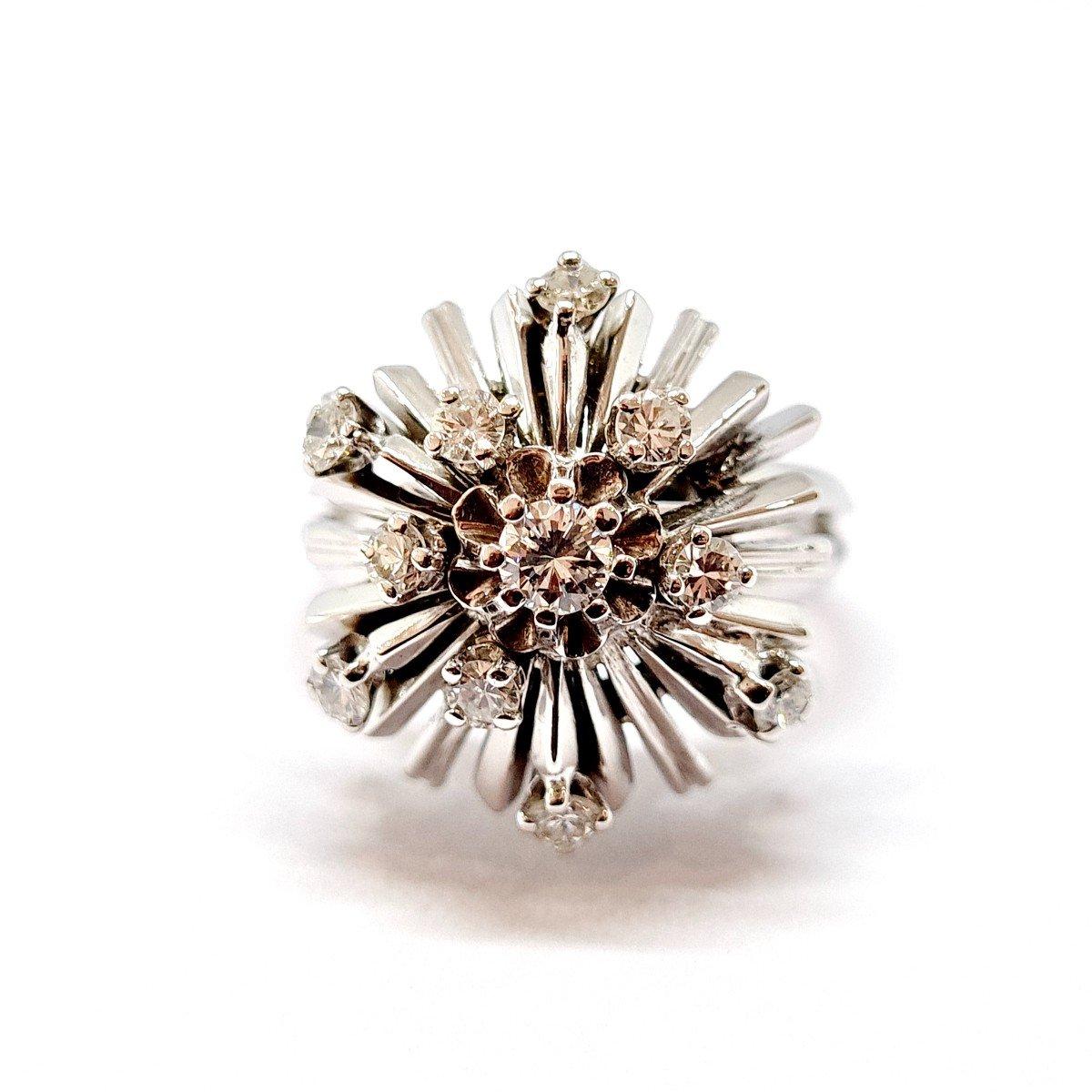 Bague Ancienne Or Blanc 18 Carats Diamants