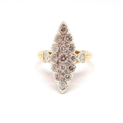 Bague Marquise Deux Ors 18 Carats Diamants