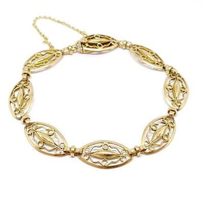 Bracelet Ancien Maille Filigrane Or Jaune 18 Carats