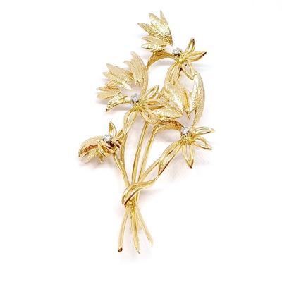 """Broche Ancienne """"bouquet De Fleurs"""" Or Jaune 18 Carats Diamants"""