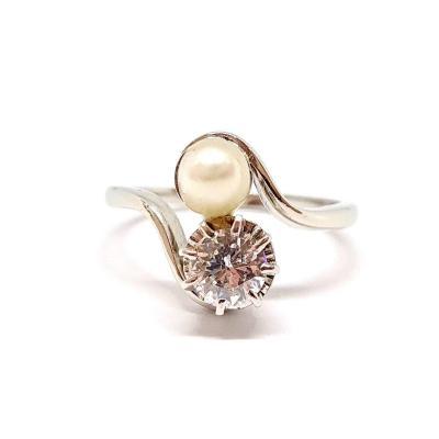 Bague Toi & Moi Or Blanc 18 Carats Platine Diamant Perle