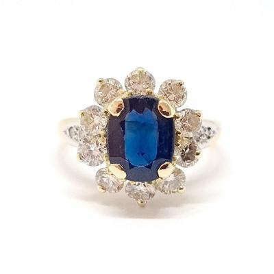 Bague Ancienne Or Jaune 18 Carats Saphir Diamants