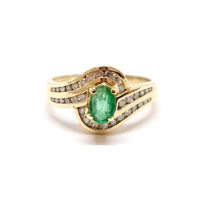 Bague Ancienne Or Jaune 18 Carats émeraude Diamants
