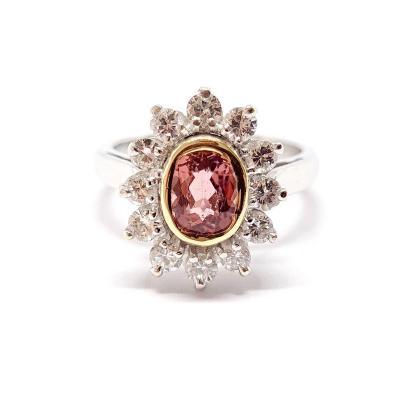 Bague Ancienne Marguerite Deux Ors 18 Carats Tourmaline & Diamants