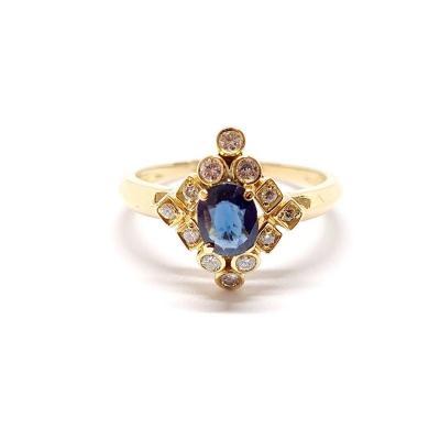 Bague Ancienne Or Jaune 18 Carats Saphir & Diamants