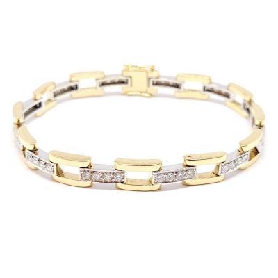 Bracelet Ancien Deux Ors (jaune & Blanc) 18 Carats Diamants