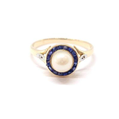 Bague Art Déco (1920 – 1935) Or Jaune 18 Carats Perle Saphirs Diamants