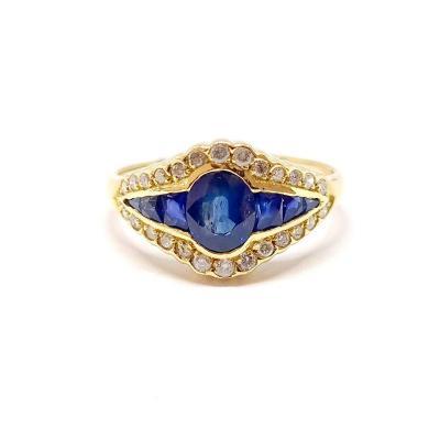 Bague Jarretière Art Déco (1920 – 1935) Or Jaune Saphirs Diamants