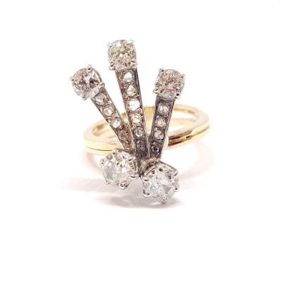 Old Two Gold 18k Diamond Ring