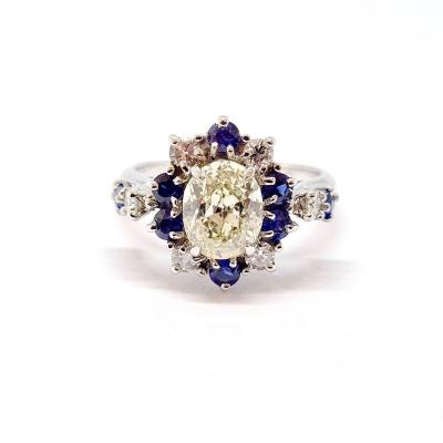 Art Deco Ring (1920 - 1935) 18k White Gold Diamonds Sapphires