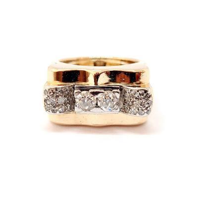 Tank Ring (1930 - 1950) 18k Yellow Gold Diamonds