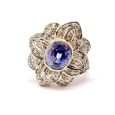 Bague Ancienne Or Jaune 9 Carats Argent Saphir Diamants