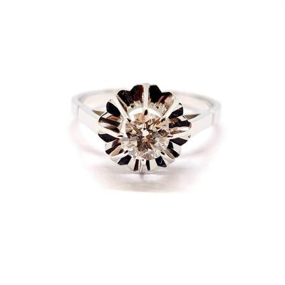 Solitaire ancien or blanc 18 carats diamant