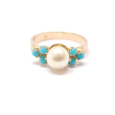Bague Ancienne Or Jaune 18 Carats Perle Turquoises