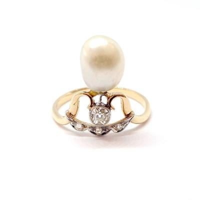 Bague Art Nouveau (1870 – 1915) Or Jaune 18 Carats Perle Diamants
