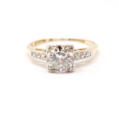 Bague Art Déco (1920 – 1935) Or Jaune 18 Carats Platine Diamants