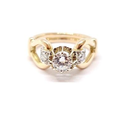Bague Ancienne Or Jaune 18 Carats Diamants