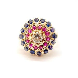 Bague Ancienne Or Jaune 14 Carats Diamant Rubis Saphirs