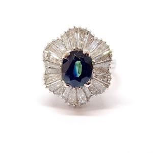 Bague Ancienne Or Blanc 18 Carats Saphir Diamants