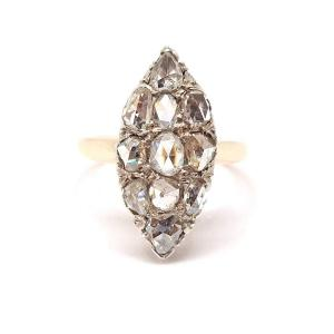 Bague Marquise Ancienne Or Rose 18 Carats Diamants