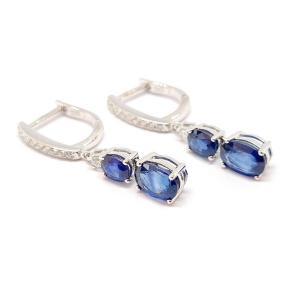 Boucles D'oreilles Or Blanc 18 Carats Saphirs Diamants