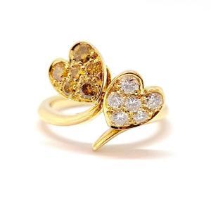 Bague Toi & Moi Coeurs Or Jaune 18 Carats Diamants
