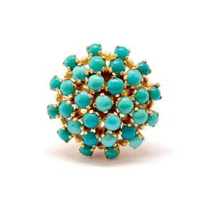 Antique 18k Yellow Gold Turquoise Ring