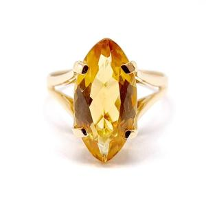 Citrine 18k Yellow Gold Marquise Ring