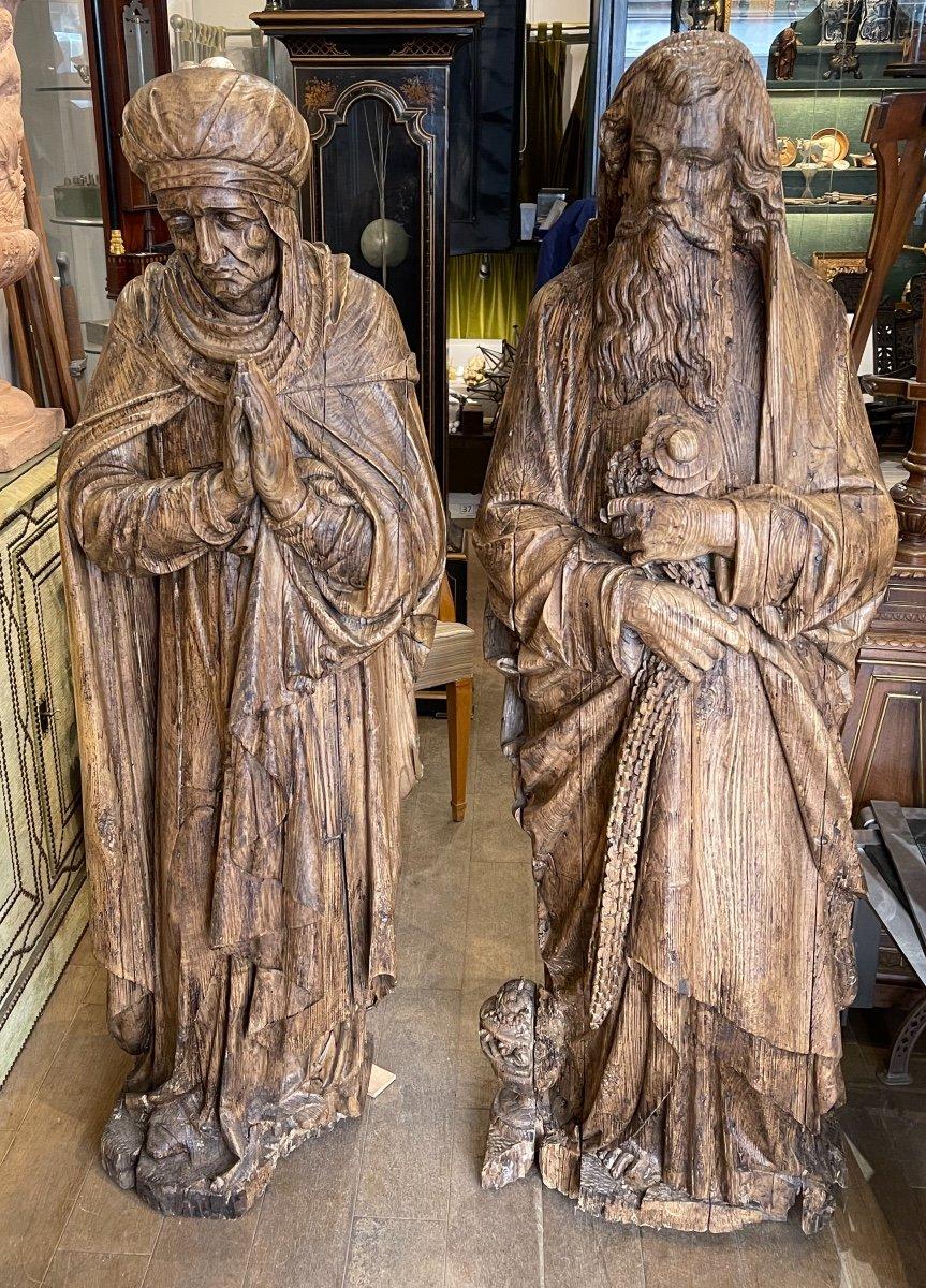 Deux Sculptures En Bois Représentant Melchisédech Et Une Sainte Femme