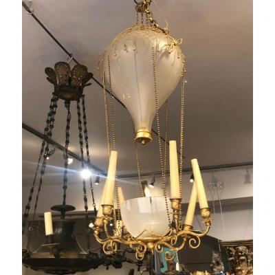 Chandelier Balloon XIXth Century Glass And Bronze.
