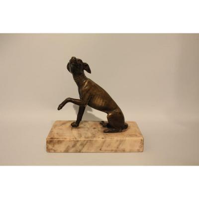 Sculpture En Bronze Représentant Un Lévrier Greyhound Fin XVIIIème Debut XIXème Siècle