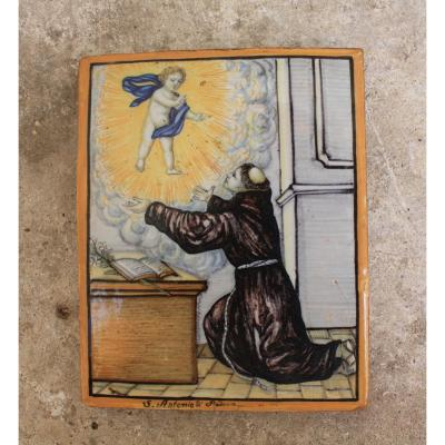 Plaque En Céramique Polychromée Italie XVIIIème Siècle Représentant Saint Antoine
