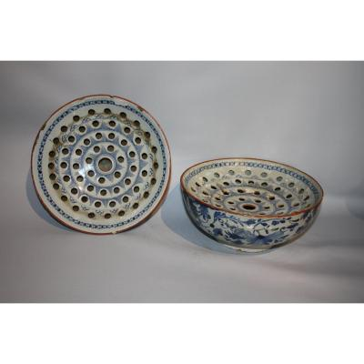 Drainers Or Flower Holders In Earthenware From English Delft. XVIIIth Century.