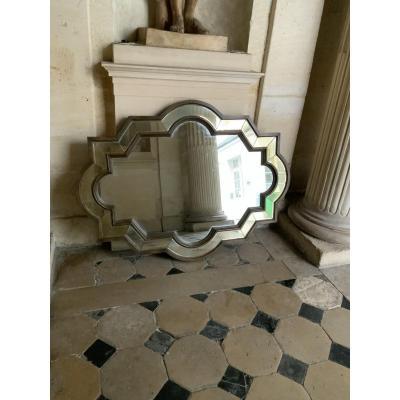 Grand Miroir Décoratif En Bois XXeme siècle.
