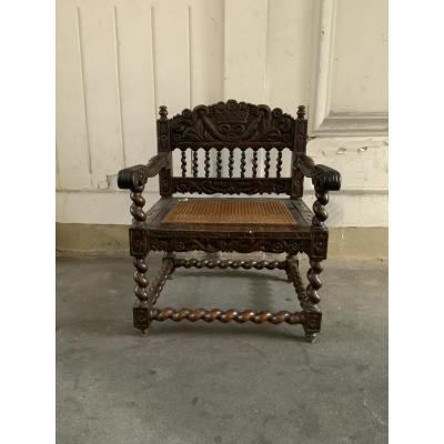 Indonésie, Batavia, fauteuil hollandais, travail Colonial.  XVII/XVIIIème siècle.