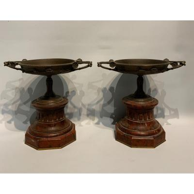 Pair Of Cups In Bronze And Red Marble, Signed Henry Cahieux