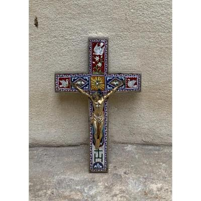Christ On Cross In Silver And Micro Mosaic Italy XIXth Century.