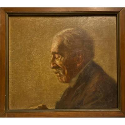 Oil On Panel Portrait Of An Elderly Man Around 1950