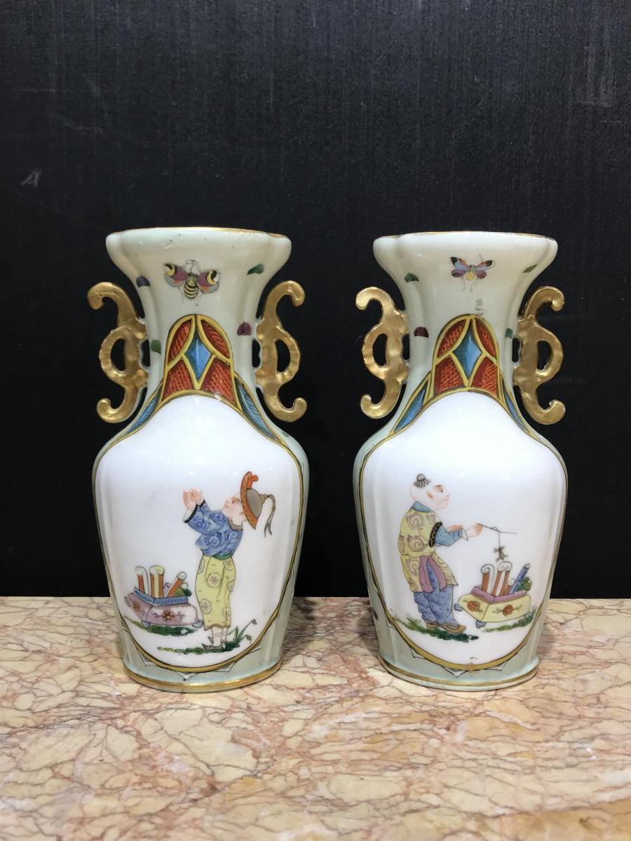 Paire De Vases Porcelaine De Bayeux 19éme Siécle
