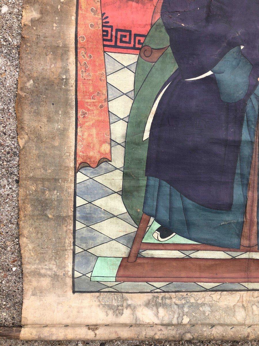Ancien Portrait D'ancêtre Dignitaire Chinois-photo-1
