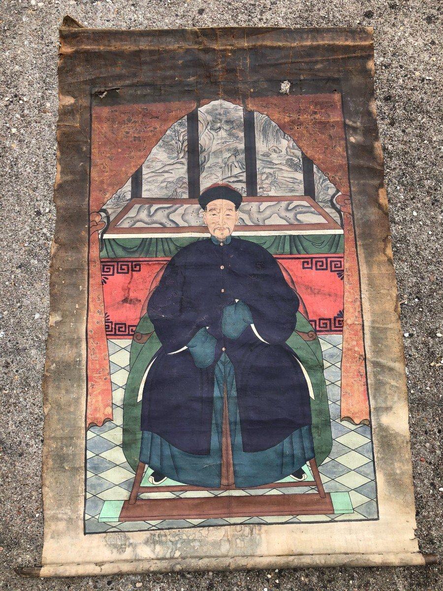 Ancien Portrait D'ancêtre Dignitaire Chinois-photo-5
